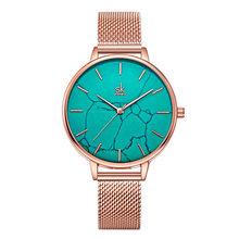 Ins модные элегантные женские часы Rosegold Simplge повседневные Элегантные женские часы Уникальный дизайн мраморные серые кожаные подарочные часы(Китай)
