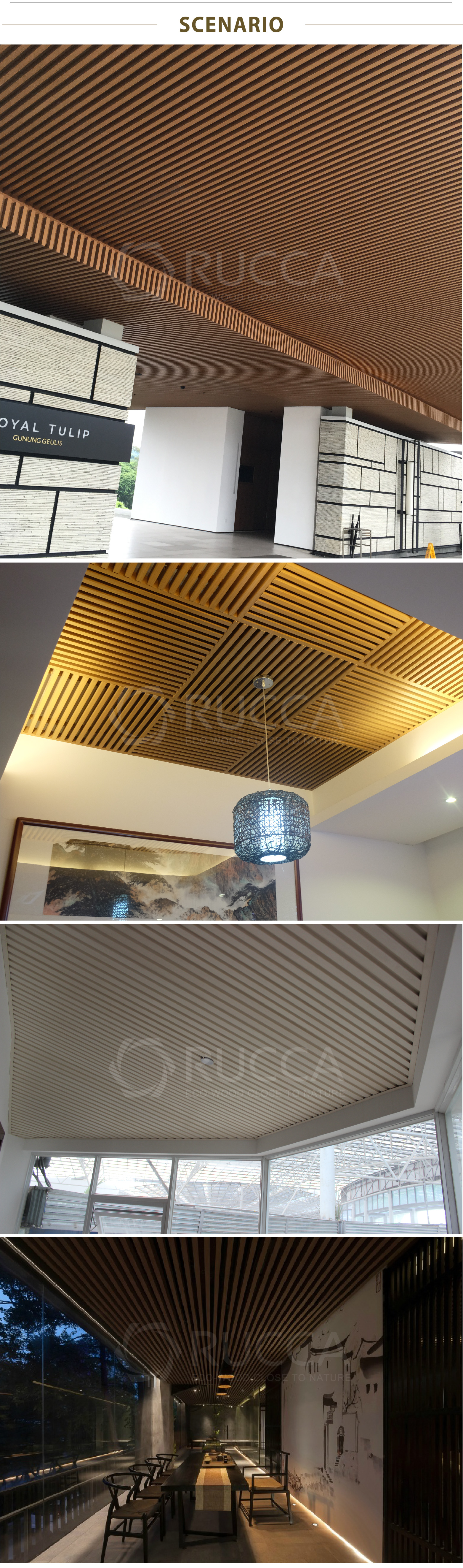 Rucca Decorative Ceiling Wood Pvc Plastic Composite False Ceiling For Interior Suspended Decoration Hall Ceiling Panels Design View Pvc Composite Ceiling Panels Rucca Product Details From Foshan Ruccawood Co Ltd On Alibaba Com