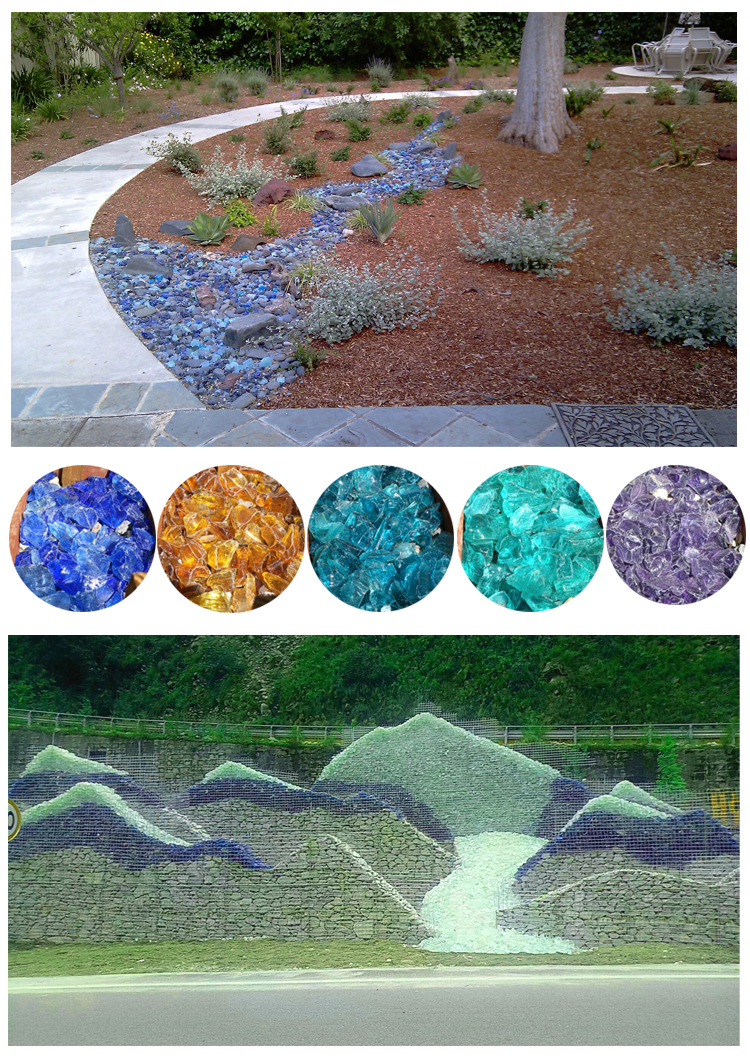 various sizes broken colorful  glass rock for landscaping