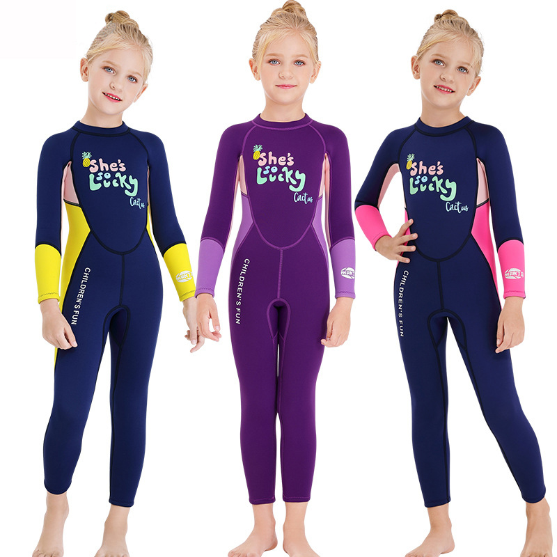 Direct sale new boys and girls blue purple long sleeve trousers 2.5MM children warm conjoined Wetsuit