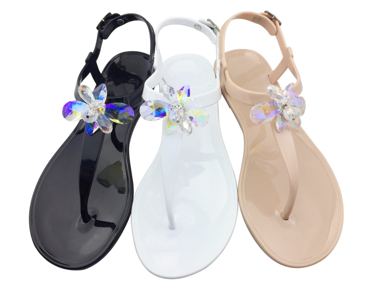 Ladies Shoes 2020 Sandalias Color Rhinestone Jelly Flat Sandals Women
