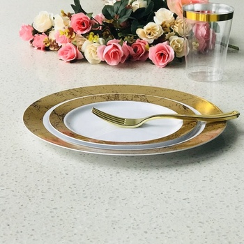 PS plastic food safe gold elegant disposable plates