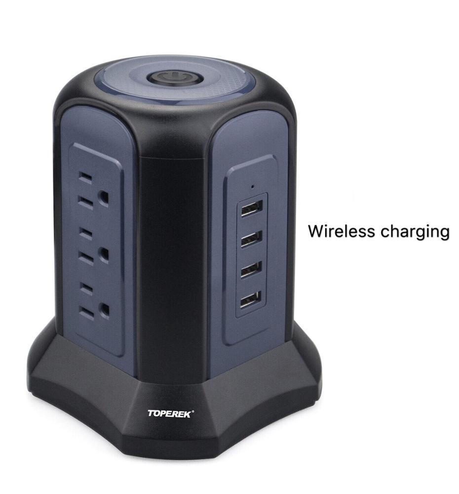 ベストセラーのサージ保護パワーストリップタワーusbソケットワイヤレス充電器