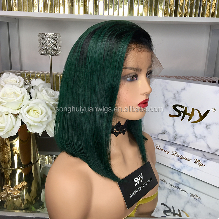 Natural Hairline Ombre Green Straight Bob Half Head China Human Hair Wigs Glueless Cuticle Aligned Lace Frontal For All Skin