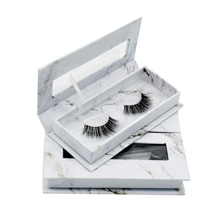 Emballage personnalisé étiquette Privée faire votre propre vide vide papier cils paquet de marbre cils boîte