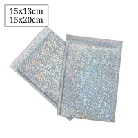 Small Holographic Shipping Mailing Bags Rainbow Metallic Foil Holographic Bubble Mailers
