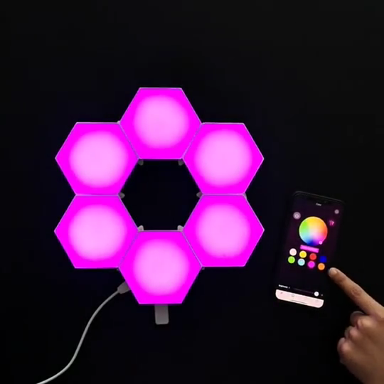 6 Pcs Colour Mobile App RGB Hex Sensitive Hexagon Modular Night Light, Wall Led Honeycomb Bluetooth Quantum Hex Light