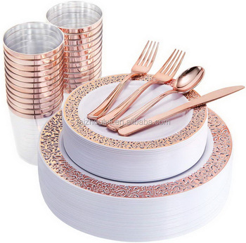 175 Pieces Rose Gold Disposable Plates with Plastic Silverware and Rose Gold Cups, Elegant Laced Plastic Plates