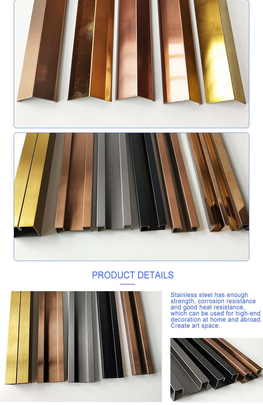 L2030 Hot sale Hairline Brass T Shape Stainless Steel Tile Trim Floor Transition Strip Metal Inlay Strips