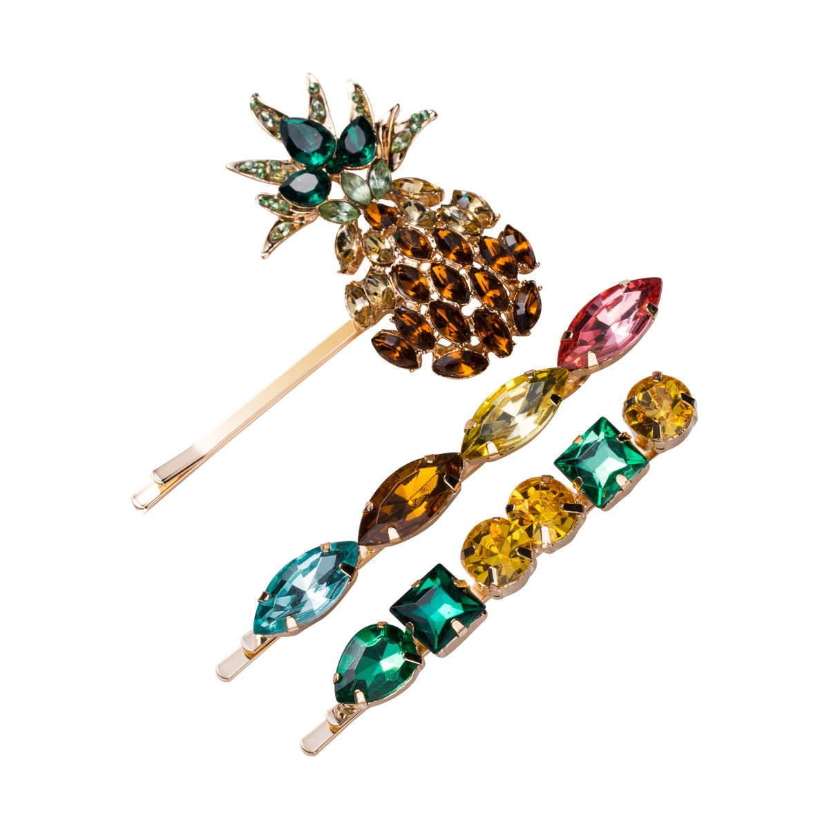 ZJY0013 Trade assurance 2020 new design acrylic hair clip set pineapple shape colorful zircon word clip three-piece lady jewelry