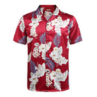 Men 100% Silk Casual Short Sleeve Single Breasted Hawaiian Print Shirt