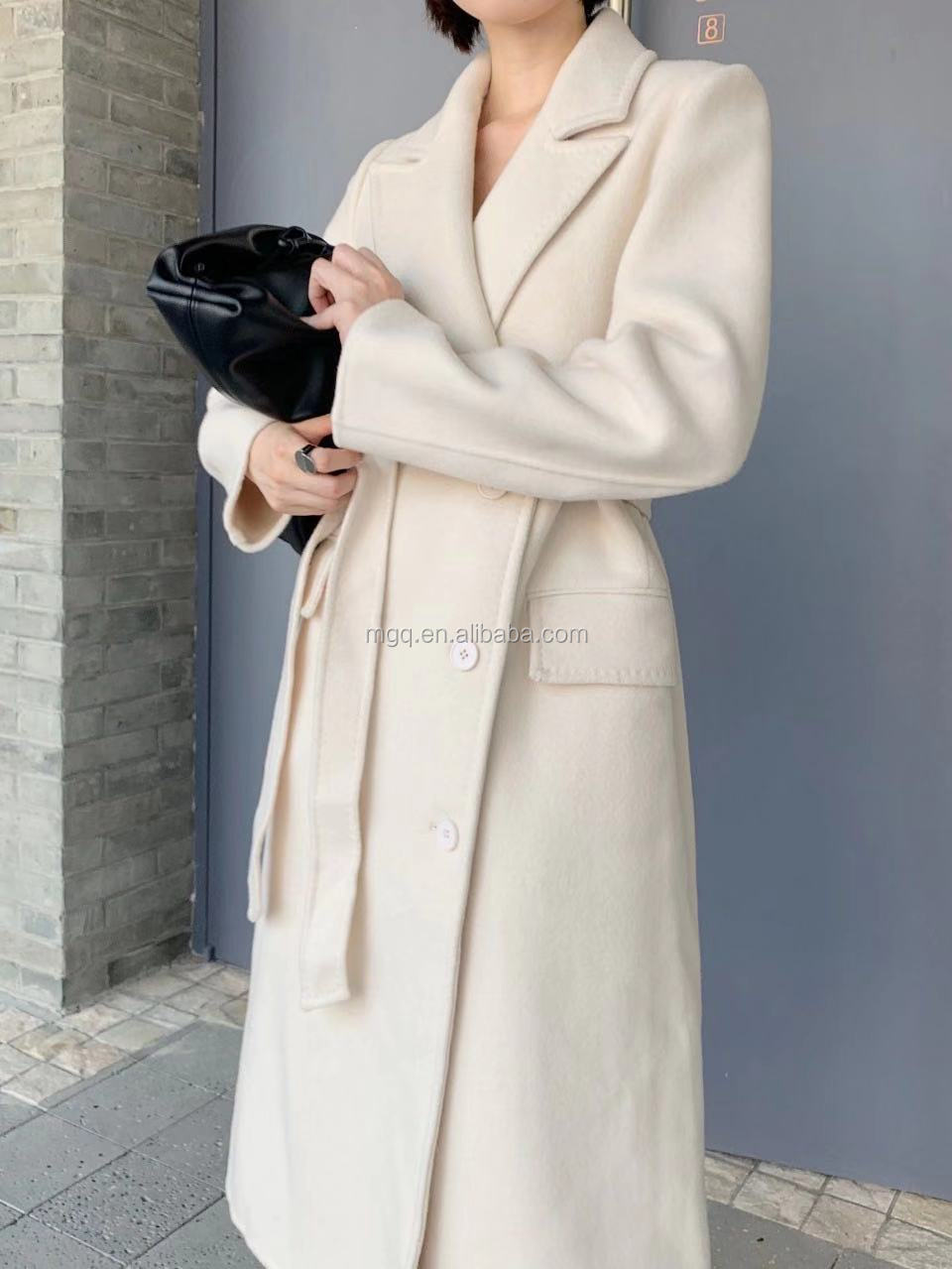 Top quality Korean design handsewn anti-pilling double side womens long wool coat in winter