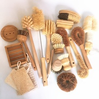 Hot Sale Wood Handle Tampico Fiber Kitchen Coco Sisal Wash Brushes Mini Bamboo Dish Cleaning Brush