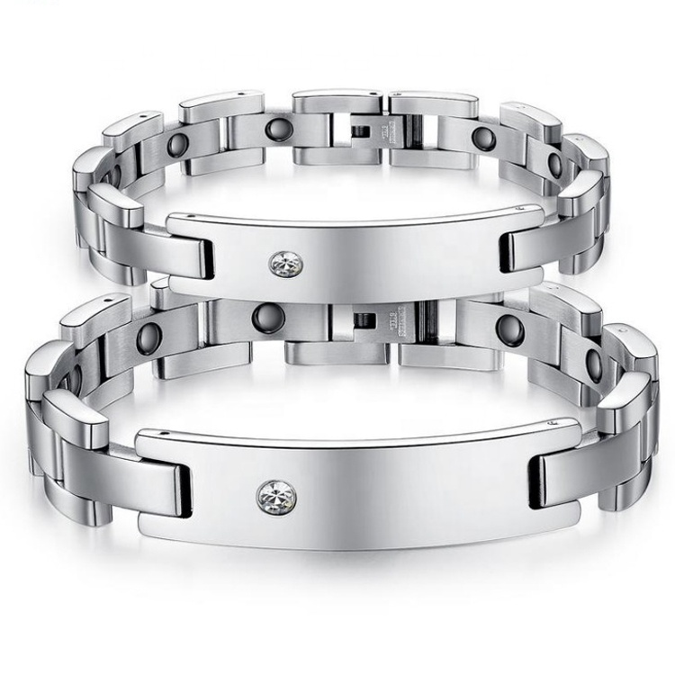Adjustable Fashion Cubic Zirconia Medical Ion Stainless Steel <strong>Energy</strong> <strong>Magnetic</strong> Health <strong>Bracelet</strong> for Couple