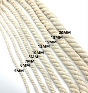 2019 custom twisted cotton rope 10mm cotton rope 20mm color 3-strands cheap white cotton rope