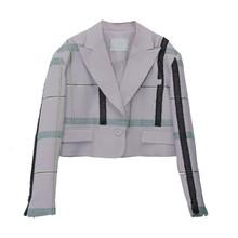 Женский Асимметричный пиджак TWOTWINSTYLE, черный короткий пиджак с отложным воротником и длинным рукавом, весна-лето 2020(Китай)