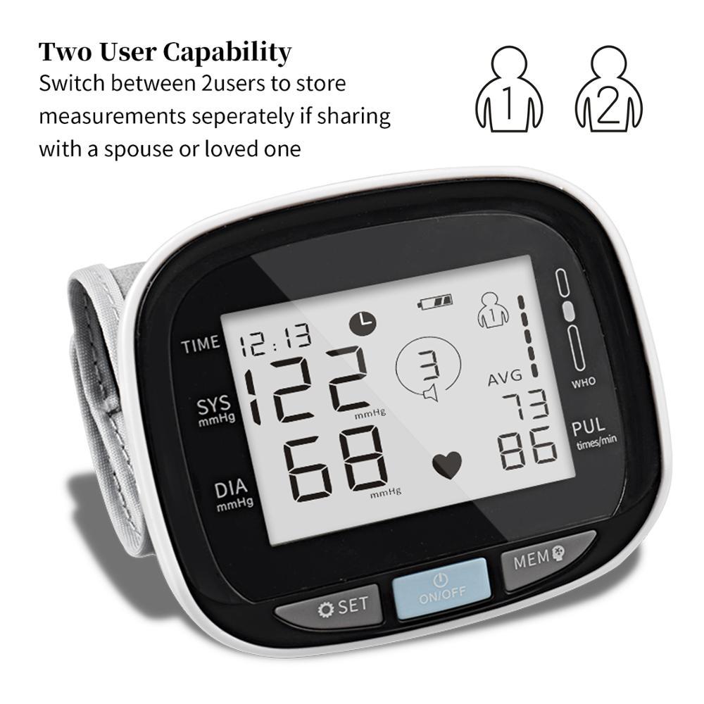 Wrist smart blood pressure / heart rate monitor home and hospital wrist digital free blood pressure monitor