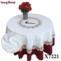LongShow Beautiful Table Cover Embroidery Lace Plain Linen Fabric Party Wedding Round TableCloth