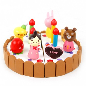 Magnetic wooden cake cutting&sharing play house game toy