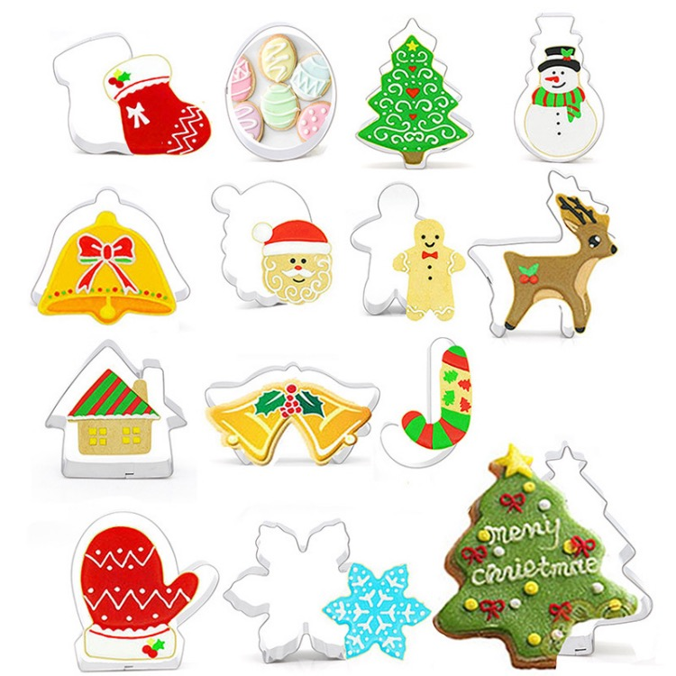 14pcs Holiday Creative Christmas Cookie Cutter Stainless steel Pastry Decoration Tool Cake Embossing Tool Set With Packing