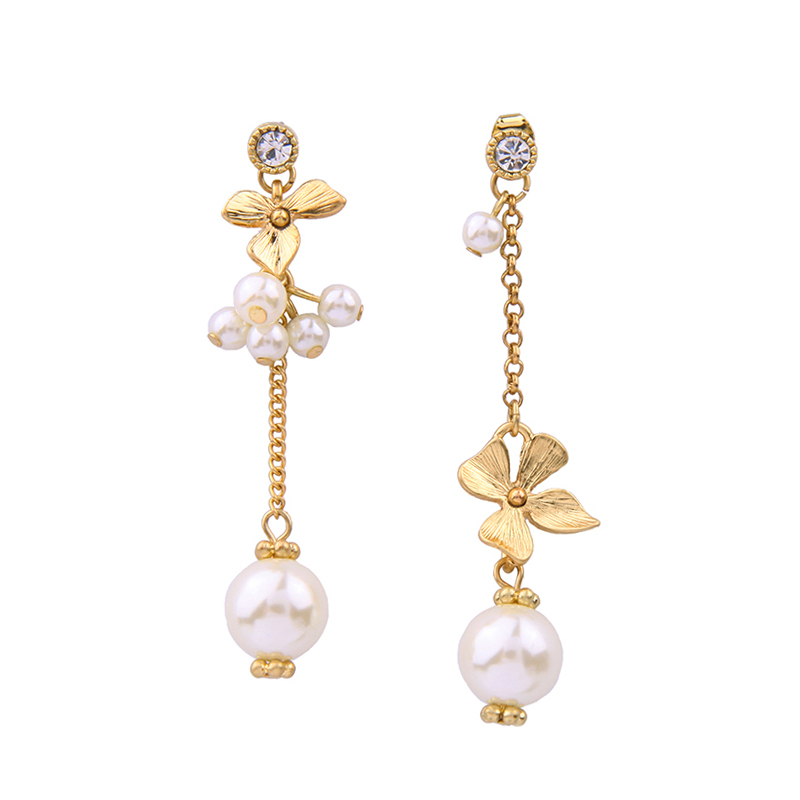 ed0052a Free Shipping Wholesale Long Asymmetric <strong>Gold</strong> <strong>Flower</strong> Crystal Pearl Jewelry Pendant <strong>Earrings</strong>