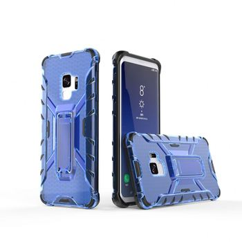 Ultra Slim Crystal Clear TPU PC Honeycomb Stronger Kickstand Smartphone Case For Samsung Galaxy S9 Phone Cover