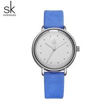Shengke цветные уникальные простые женские часы Ретро кожаные женские часы Топ бренд женские модные наручные часы Montre Femme(Китай)