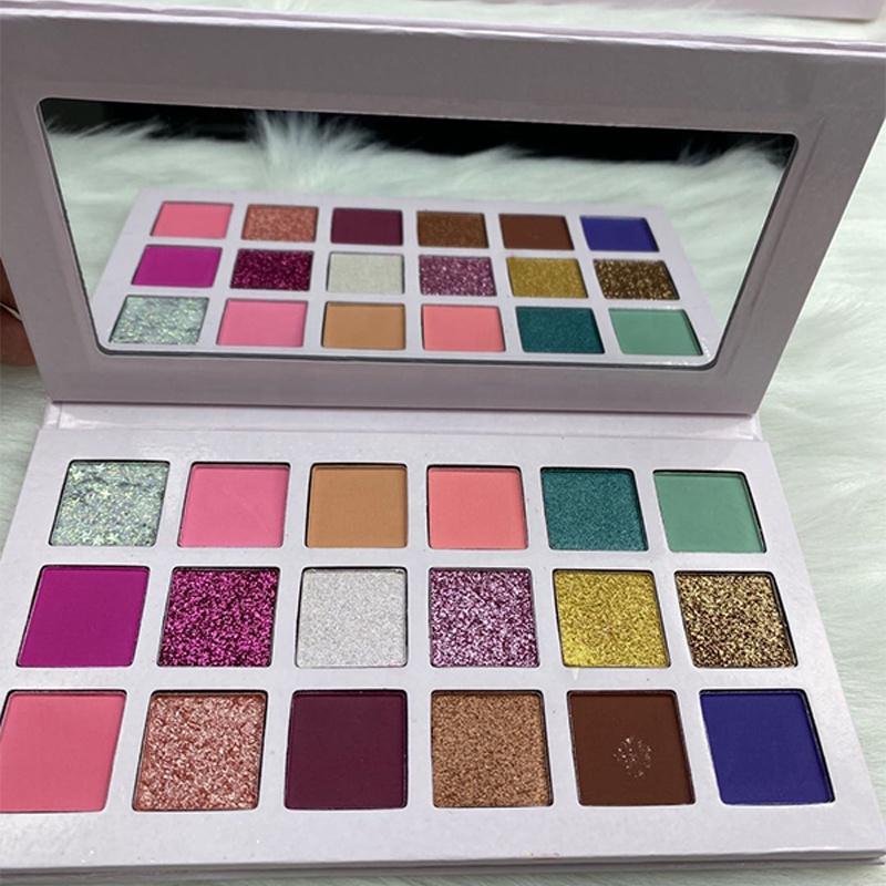 Glänzende verpackung 18 Farbe Lidschatten Make-Up Machen Sie Ihre Eigene Marke Lidschatten-palette