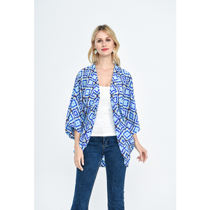 Fashion style women tops blouse navy blue printed geometric shirt