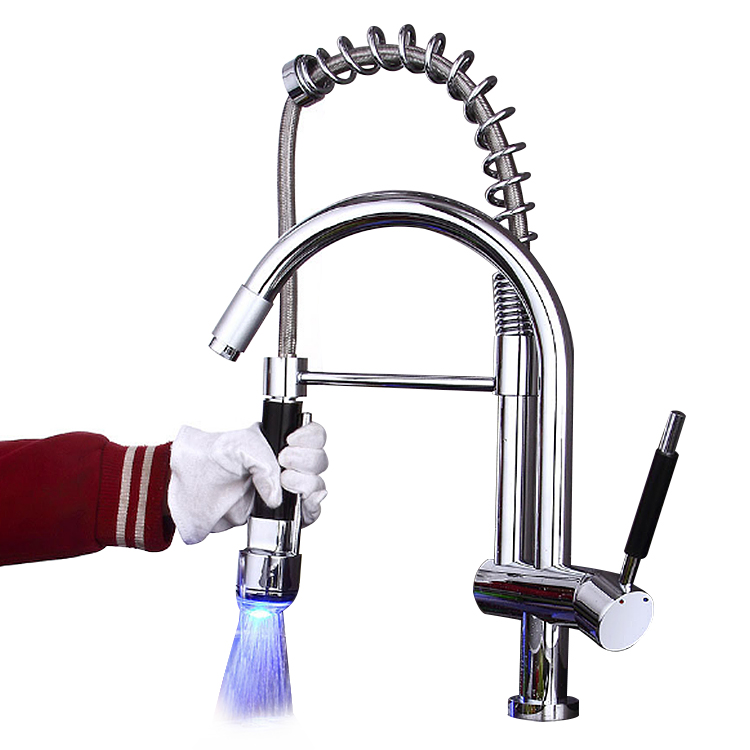 Hot Sale Brass LED mixer tap <strong>Spring</strong> Pull Down pull out Sink <strong>Faucet</strong> for <strong>kitchen</strong>