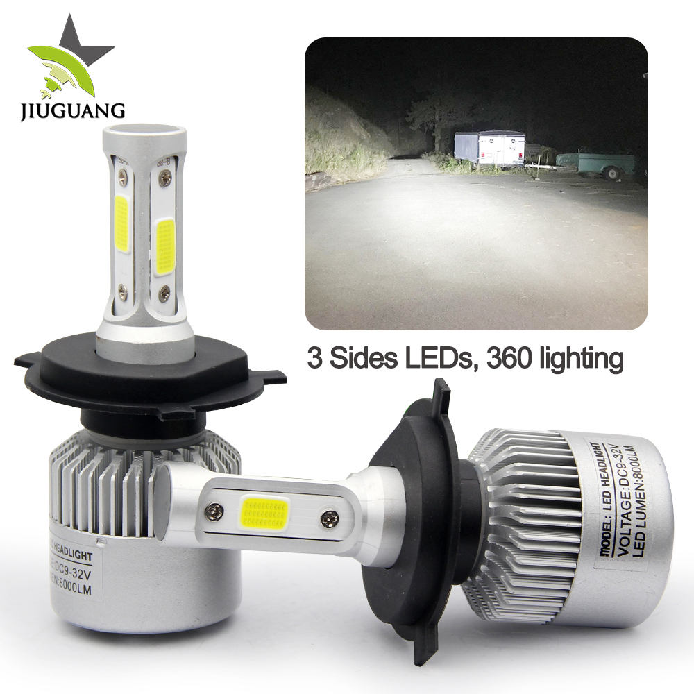 3 Sides S2 8000Lm High Power Super Bright 360 lighting High Low 9005 9006 H11 H4 H7 Auto Car Led Headlight Bulbs