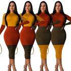 0819M496 high quality multi color long sleeve fashion woman casual patchwork sexy dress club