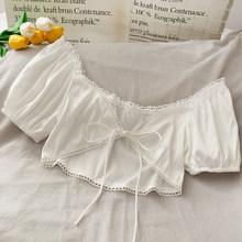 Женская блузка с вырезом лодочкой, однотонная кружевная блузка, Новинка лета 2020, пляжный стиль, пышные рукава, короткие, высокая талия, сексу...(China)