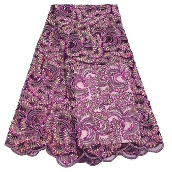 Unique fuchsia pink Tulle sequins lace fabric french net lace pattern Nigerian Asoebi design dressing lace NI2550
