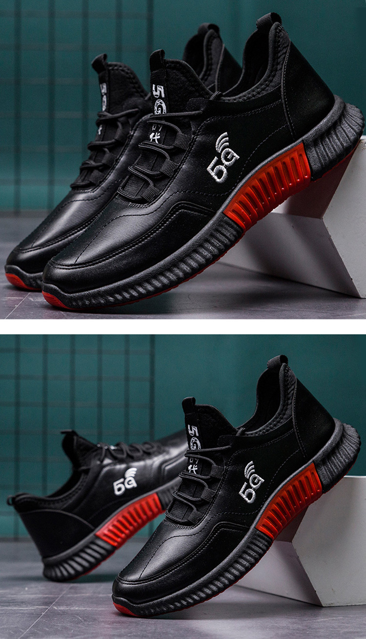 Customized high quality low price black casual leather shoes men