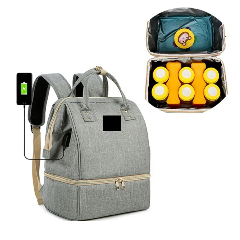 Multifunctional baby diaper mum backpack bag with usb charger