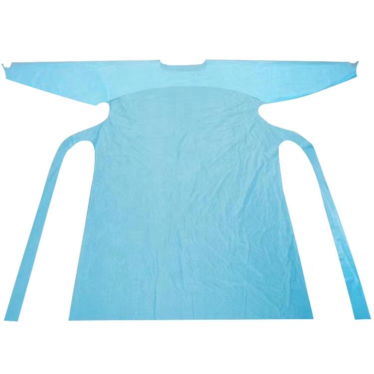 Tek kullanımlık CPE/PEVA plastik elbisesi ucuz uzun kollu önlük başparmak döngü ile manşet
