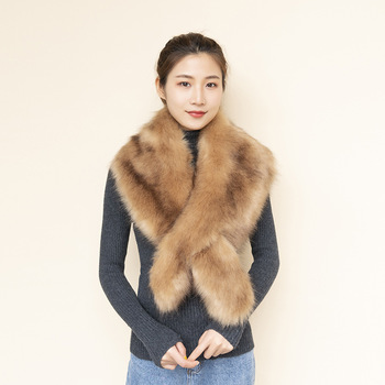 new 2019 winter female artificial faux fur scarf wrap stole neck warmer women faux fur collar fox fur scarf for evening party