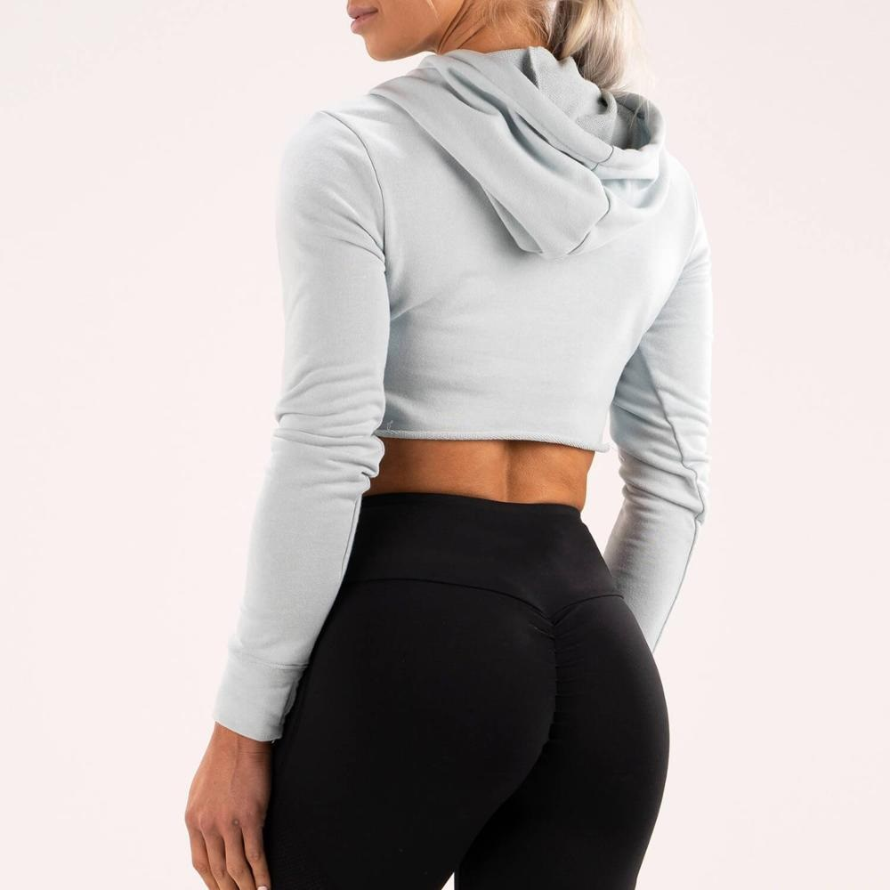 Custom cotton french terry cut hem grey crop hoodie for women