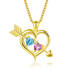 Женское ожерелье с подвеской StrollGirl, кулон из стерлингового серебра 925 пробы с двумя сердечками, подарок на заказ(Китай)