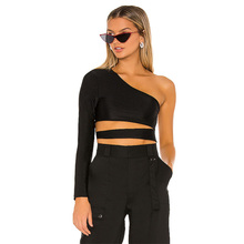 Frauen Mode Tops Sexy Langarm Cut Out Detail Ein Schulter Styling Crop Tops Für Frauen