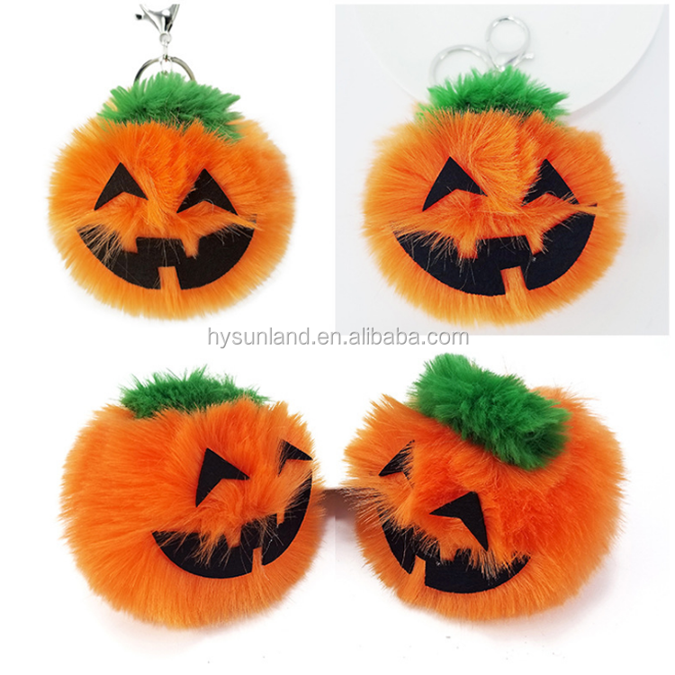 F-4770 new faux rabbit fur pumpkin halloween keychain wholesale cute lady bag charms fashion halloween gift