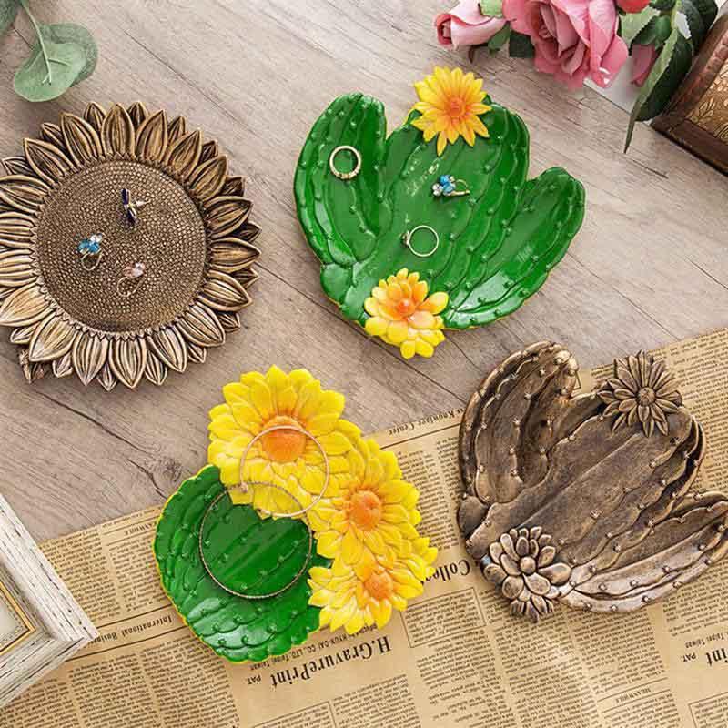 Multipurpose Simulation Plants Resin Dried Fruit Plate Sunflower Cactus Jewelry Storage Creative Decoration Trinket Tray