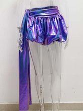 JillPeri, женские сексуальные штаны-фонарики цвета металлик, модные кофейные шорты, повседневный наряд, одежда для отдыха, Клубные вечерние шор...(Китай)