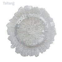 Taitang Hotel Restaurant Banquet Wedding Charger Plate Glass Under Plate Silver Gold Chargers Plates Dining