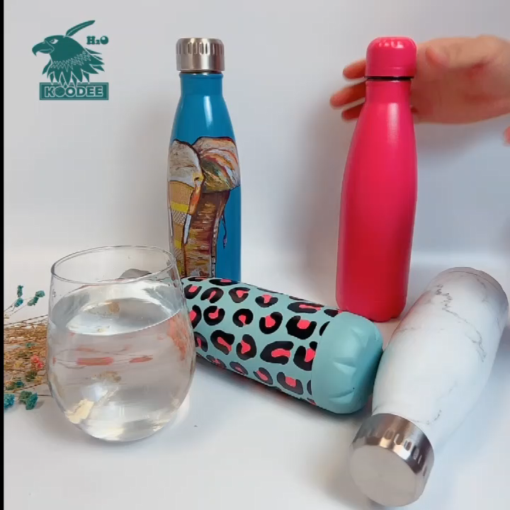 new 2020 double wall  cola shaped  water bottle with  printing