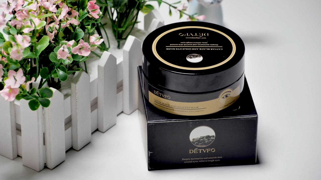 Schwarz Kaviar Extrakt Collagen Anti-Falten gel Augenklappe Maske Aging Straffende Caviar Feuchtigkeitsspendende Blatt Auge Maske Augenringe entfernung