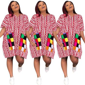 FM-Y8111 Wholesale 2020 Elegant women plus size dress mid sleeve african clothing t shirt casual dress for women