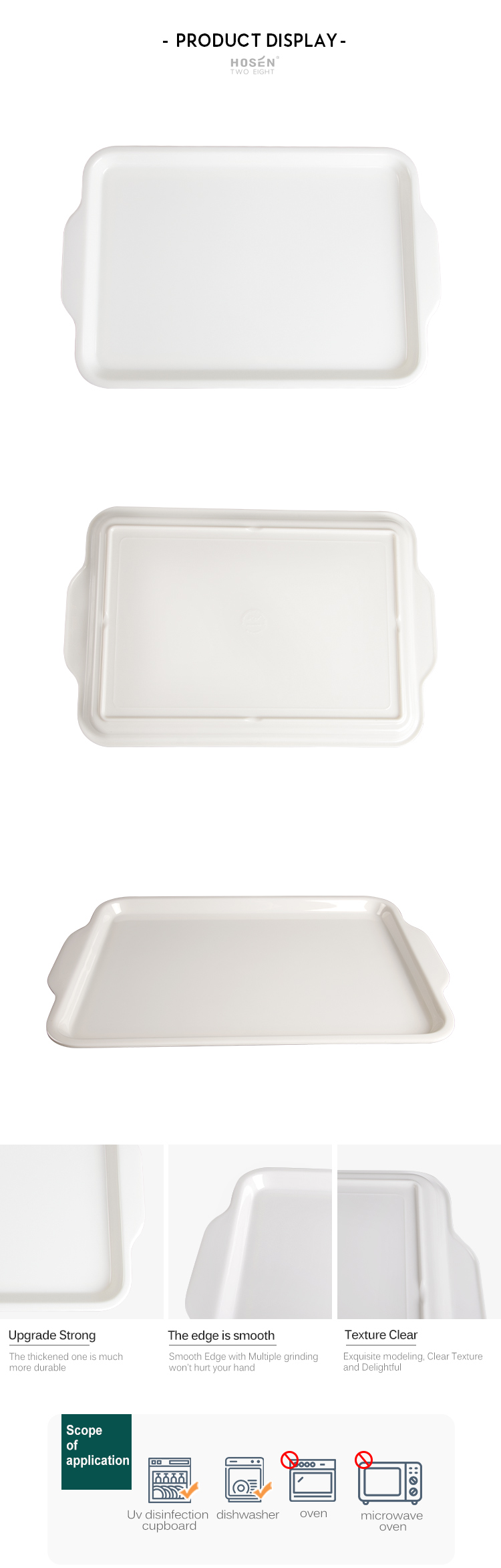 Fast Food Restaurant Eco Bamboo Melamine Serving Tray Melamin Making Machin Tray