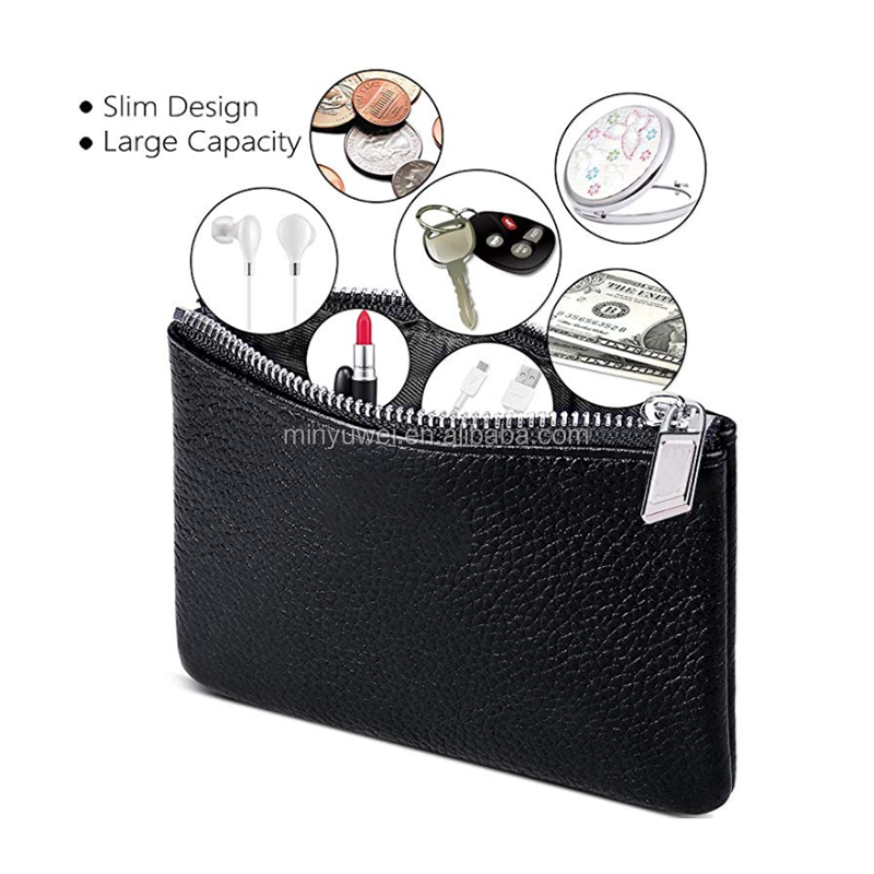 Mini size classic zipper closure design soft leather coin bag purse